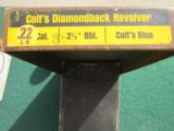 """COLT DIAMONDBACK 22 LR., """"RARE"""" 2 1/2"""" BLUE NEW UNFIRED, NO TURN RING, IN BOX WITH OWNERS MANUAL, ETC. - 4 of 5"""