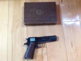 COLT GOVERNMENT 38 SUPER, MFG. 1950, ORIGINAL BLUE & GRIPS, IN ORIGINAL BOX