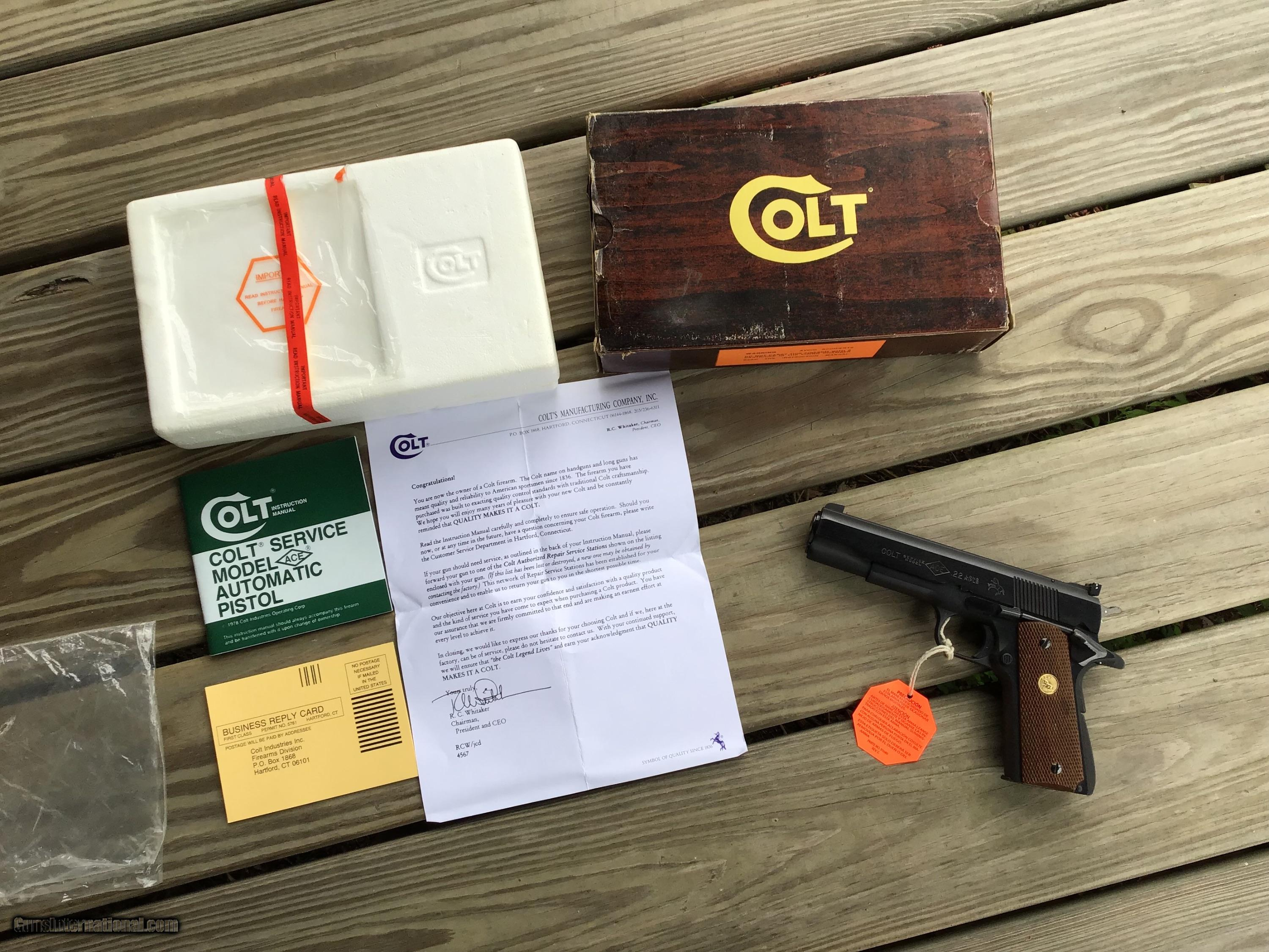 COLT ACE 22LR , 99% COND  IN BOX WITH OWNERS MANUAL, HANG