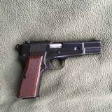 BROWNING BELGIUM HIGH POWER, 9 MM, RING HAMMER, TANGENT ADJUSTIBLE SITES, HAS SLOT TO INSTALL SHOULDER STOCK, MFG. 1954, 99% COND.