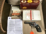 "COLT PYTHON 357 MAGNUM, 4"" BRIGHT STAINLESS, UNFIRED, UNTURNED, 100% COND."