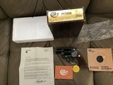 """COLT PYTHON 357 MAGNUM, 2 1/2"""" BLUE, MFG. 1977, NEW UNFIRED NO TURN RING 100% COND. IN BOX"""