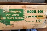 REMINGTON 600 350 MAGNUM NEW UNFIRED, 100% COND. IN DUPONT BOX WITH OWNERS MANUAL HANG TAG, ETC. - 6 of 6