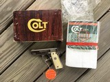 COLT GOVERNMENT 380 CAL. BRIGHT NICKEL, NEW UNFIRED, 100% COND. IN THE BOX