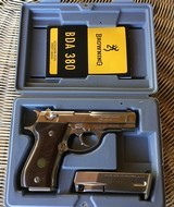 BROWNING BDA 380 CAL. BRIGHT NICKEL, NEW UNFIRED, 100% COND. IN THE BOX THESE ARE 13 SHOT - 1 of 4