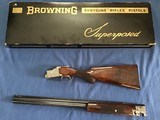 """BROWNING SUPERPOSED 28 GA. POINTER GRADE, 26 1/2"""" SKEET & SKEET, MFG. 1962, ROUND KNOB, LONG TANG, SIGNED BY THE ENGRAVER MARCIAL ON BOTH SIDES."""