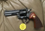 "COLT PYTHON 357 MAGNUM, 4"" BLUE, MFG. 1969, AS NEW COND.,COMES WITH TEST TARGET, OWNERS MANUAL, HANG TAG, ETC. IN THE BOX - 3 of 8"