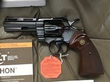 "COLT PYTHON 357 MAGNUM, 4"", ""ROYAL BLUE"" MFG. 1981, NEW UNFIRED, UNTURNED, IN THE BOX."