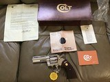 """COLT PYTHON 357 MAGNUM, 4"""" BRIGHT NICKEL, MFG. 1977, NEW UNFIRED UNTURNED IN THE BOX - 1 of 7"""