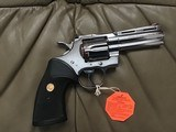 """COLT PYTHON 357 MAGNUM, 4"""" BRIGHT STAINLESS, NEW UNFIRED, UNTURNED IN THE BLUE PLASTIC BOX WITH COLT PICTURE BOX - 2 of 4"""