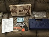 """COLT PYTHON 357 MAGNUM, 4"""" BRIGHT STAINLESS, NEW UNFIRED, UNTURNED IN THE BLUE PLASTIC BOX WITH COLT PICTURE BOX - 1 of 4"""