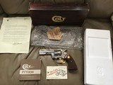 "COLT PYTHON 357 MAGNUM, 4"" BRIGHT NICKEL, MFG. 1980, NEW UNFIRED, UNTURNED 100% COND. IN THE BOX"