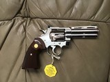 """COLT PYTHON 357 MAGNUM, 4"""" BRIGHT NICKEL, MFG. 1980, NEW UNFIRED, UNTURNED 100% COND. IN THE BOX - 2 of 4"""