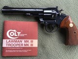 "COLT TROOPER MKIII, 357 MAGNUM, 6"" BLUE, 99% COND. COMES WITH OWNERS MANUAL"