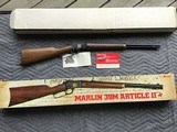 "MARLIN 39M MOUNTIE, ARTICLE Il, 22LR. 20"" BARREL, ""COMMEMORATING 100 YRS. OF THE RIGHT TO BEAR ARMS"", NEW UNFIRED IN THE BOX"