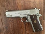 COLT COMBAT COMMANDER 45 ACP. RARE SATIN NICKEL FINISH, EARLY PRODUCTION IN EARLY BOX WITH PAPERS, 99+% COND. - 3 of 4