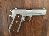 COLT COMBAT COMMANDER 45 ACP. RARE SATIN NICKEL FINISH, EARLY PRODUCTION IN EARLY BOX WITH PAPERS, 99+% COND. - 2 of 4