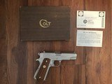 COLT COMBAT COMMANDER 45 ACP. RARE SATIN NICKEL FINISH, EARLY PRODUCTION IN EARLY BOX WITH PAPERS, 99+% COND. - 1 of 4