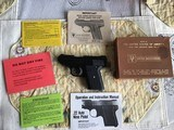 DAVIS 380 BLUE, 6 SHOT, AS NEW IN BOX WITH OWNERS MANUAL, ETC.