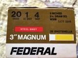 "FEDERAL 20 GA. 3"" MAGNUM #4 STEEL SHOT"