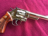 """SMITH & WESSON 29, 44 MAGNUM, 6 1/2"""" BRIGHT NICKEL, EXC. COND. NO CYLINDER TURN RING, IN SMITH & WESSON WOOD PRESENTATION CASE - 6 of 9"""