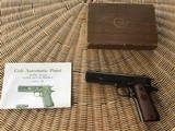 COLT 1911, 38 SUPER CAL. GOVERNMENT STYLE, MFG. 1950, IN ORIGINAL BOX WITH OWNERS MANUAL - 1 of 6