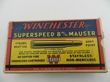 Collectible Ammo: Winchester Super Speed 8 m/m Mauser 170 grain Soft Point, Catalog No. K8004C - 4 of 15