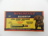Collectible Ammo: Winchester Silvertip .250-3000 Savage 100 gr Bear Label Box, Catalog No. K2510C