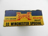 Collectible Ammo: Western Super-X Silvertip .32 Winchester Special 170 grain expanding bullet, Catalog No. K1713C. - 6 of 13