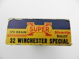 Collectible Ammo: Western Super-X Silvertip .32 Winchester Special 170 grain expanding bullet, Catalog No. K1713C. - 7 of 13