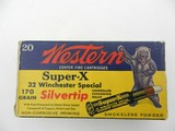 Collectible Ammo: Western Super-X Silvertip .32 Winchester Special 170 grain expanding bullet, Catalog No. K1713C.