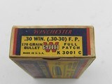 Collectible Ammo: Winchester Super Speed .30 Win (.30-30) 170 Gr Full Patch, 1935 Style Box, Catalog No. K3001C (6515) - 13 of 15