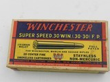 Collectible Ammo: Winchester Super Speed .30 Win (.30-30) 170 Gr Full Patch, 1935 Style Box, Catalog No. K3001C (6515)