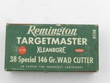 Collectible Ammo: Remington Targetmaster .38 Special 146 grain Wad Cutter, Catalog No. 6138, S&W, Colt Match Revolvers (#6581) - 2 of 10
