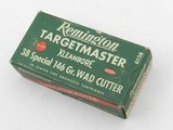 Collectible Ammo: Remington Targetmaster .38 Special 146 grain Wad Cutter, Catalog No. 6138, S&W, Colt Match Revolvers (#6581)
