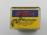 Collectible Ammo: Western .44-40 Winchester 200 grain Soft Point, Bullseye Box, Catalog No. 4440 (#6586) - 8 of 10