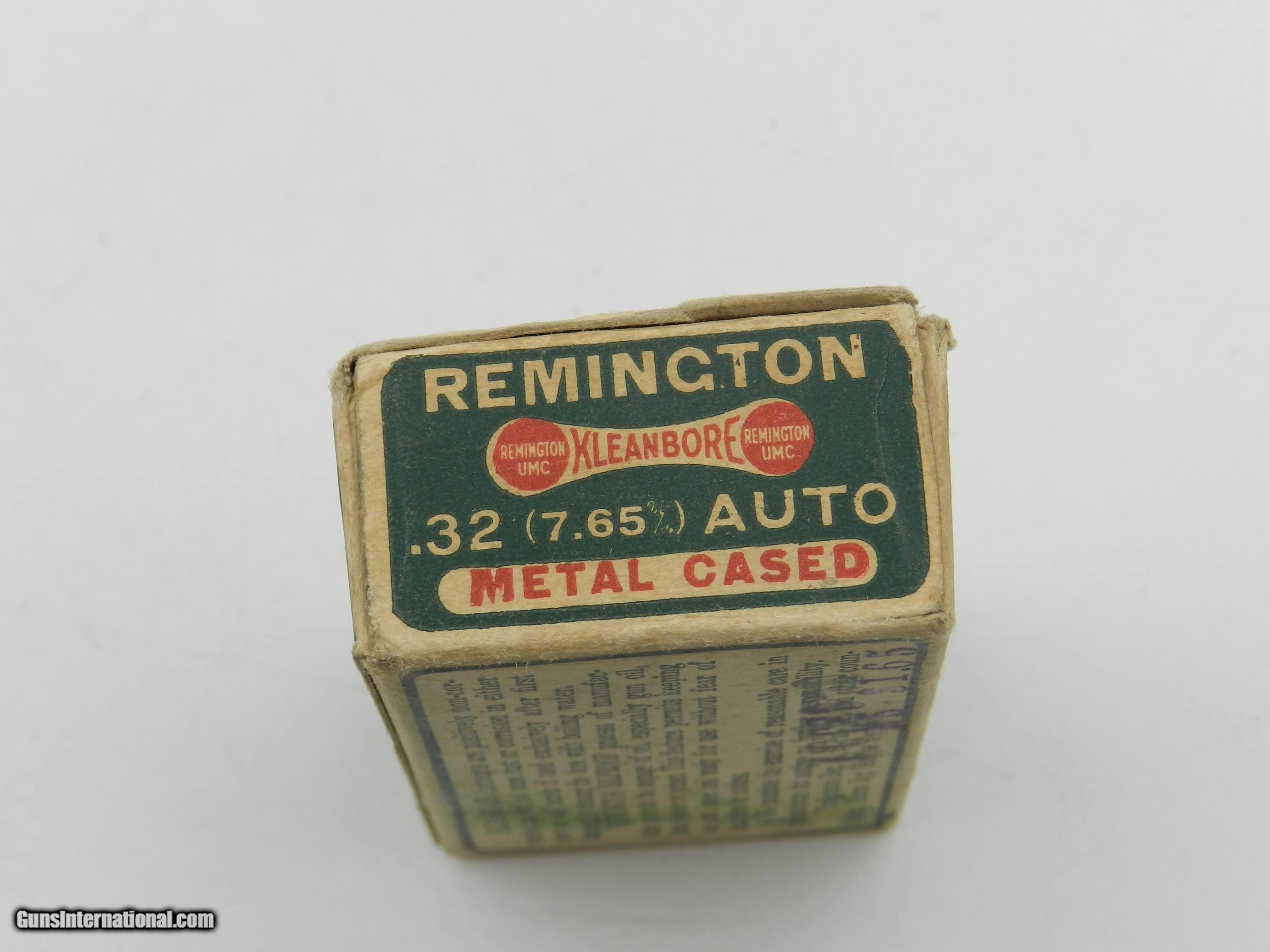 Collectible Ammo: Remington Kleanbore  32 Auto (7 65 mm), 71 grain
