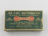 Collectible Ammo: Remington Kleanbore .32 Auto (7.65 mm), 71 grain Metal Cased Bullet, Dog Bone Box, Catalog No. R151 (#6590)