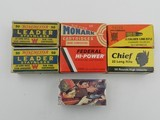 Collectible Ammo: Seven Boxes .22 LR Winchester Boy Scouts 75th Anniversary, Leader Staynless, Monark, Hi-Power, Chief, Valor (#6610)