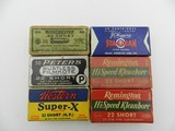Collectible Ammo: 6 Boxes Vintage .22 Short: Winchester Lesmok, Peters Filmkote, Western Super-X H.P., J.C. Higgins, Rem Hi-Speed Kleanbore (#6611