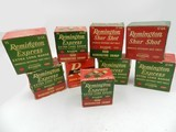Collectible Ammo: 9 Boxes Vintage Remington Shur Shot and Express 12 -16 - 20 Gauge Shotshells, Extra Long Range, Scatter - 1 of 19