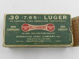 Collectible Ammo: Remington-UMC .30 (7.65mm) Luger Hollow Point, Dog Bone Box, Cat. No. R112