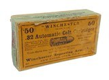 collectible ammo: partial box winchester .32 automatic colt cartridges metal patched bullets smokeless powder center fire