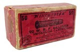 Collectible Ammo: Full Box Winchester Repeating Arms Co. .22 W. R. F. Caliber Smokeless Cartridges - 1 of 13