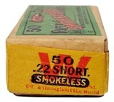 Collectible Ammo: Full Box Winchester Repeating Arms Co. Smokeless Rifle Cartridges .22 Cal Short - 3 of 9