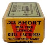 "Collectible Ammo: Sealed Box Winchester Repeating Arms Co. ""Lesmok"" .22 Short Rimfire Cartridges - 2 of 7"