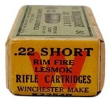 "Collectible Ammo: Sealed Box Winchester Repeating Arms Co. ""Lesmok"" .22 Short Rimfire Cartridges - 6 of 7"