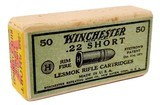 "Collectible Ammo: Sealed Box Winchester Repeating Arms Co. ""Lesmok"" .22 Short Rimfire Cartridges - 1 of 7"