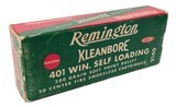 Collectible Ammo: Full Box Remington Kleanbore 401 Win. Self Loading 200 Grain Soft Point Bullet Catalog No. 2140 - 1 of 6