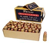 Collectible Ammo: Full Box Peters Rustless 30 Luger (7.65 m m.) 93 grain Metal Case Bullet Rustless No. 3052 - 6 of 7